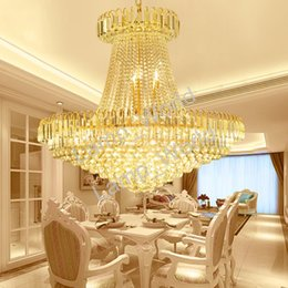 Wholesale office lobby design - Luxury Royal Empire Golden Europen Crystal Chandelier Large Contemporary Lighting French Style Hotel Lobby Design