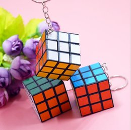 Wholesale cube games free - Puzzle Cube Keychain Factory directly sales Keychain Rubik cube 3x3x3cm Puzzle Magic Game Toy Key Keychain hot Stock Free Shipping