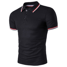 Wholesale Korean Polo Shirts - A new style of men's summer European code lapel short-sleeved Korean version of trimmed striped T-shirt cardigan POLO shirt