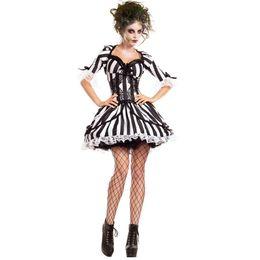 New Black Adicionar Branco Stripe Fantasma Da Noiva Fantasma para o Dia Das Bruxas Das Mulheres Zombie Vestido Extravagante Partido Cosplay Outfit Trajes sexy de