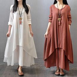 4fe9c1d4c7bb lunghi abiti bianchi di lino Sconti Grandi abiti maxi donna False abito  lungo in cotone a