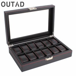 wooden case pattern Promo Codes - OUTAD 12 Grids Slots Fashion Wooden Watches Box Carbon Fibre Pattern Watch Storage Boxes Display Case Gift For Friends