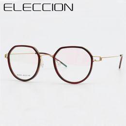 a2a4120c9f6 ELECCION Ultralight Titanium Korean Round Glasses Frame Women 2018 New  Myopia Eyeglasses Optical Frames Men Screwless Eyewear