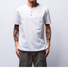 Wholesale Man Chinese Collar Shirts - Summer Cotton Shirts Men Short Sleeve V-Neck Design Pure Color Chinese Classic Blouse Thin Casual T-shirt M-4XL Size
