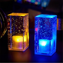 Wholesale Mini Table Lamps Wholesale - Led charging bar lamp Creative restaurant cafe mobile candle waterproof bar table light on sale mini cuboid crystal colorful indoor lighting