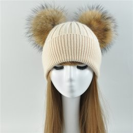 Wholesale Double Ball Wool Cap - Double Fur Pom Pom Women Winter Hat Female Wool Removable Fur Ball Knitted Beanie Cap with 2 Natural Color Raccoon Pompon