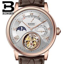 2019 механические часы Genuine  BINGER   Crocodile leather strap Men Chronogra Sapphire waterproof automatic mechanical watch дешево механические часы