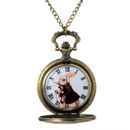 Wholesale Pocket Watch Alice - Cindiry Bronze Alice in Wonderland Rabbit Design Copper Men Women Pocket Watch Chain Necklace Pendant Fashion Modern Gift P25