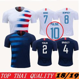 Wholesale jersey shirt quality thailand - 2018 2019 League Thailand top Quality PULISIC Soccer jerseys 18 19 BRADLEY DEMPSEY ALTIDORE YEDLIN WOOD Embroidery Football shirt