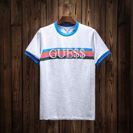 2018 Spring Summer Fashion Polo Mens Designer Brand T-shirt Letra bordada Rainbow raya manga corta T-shirt Men's Youth Tees tops desde fabricantes