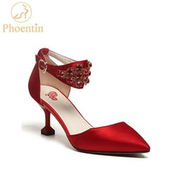 Wholesale chinese women wedding shoes - wholesale chinese red wedding shoes crystal 2018 new ankle strap pointed toe women pumps elegant bridal shoes free shipping FT459