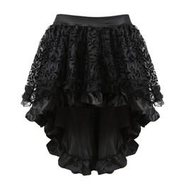 Canada Costumes Burlesque victorien dentelle multicouche noir vêtements steampunk gothique volants jupe en mousseline de soie pour les femmes corset correspondant supplier burlesque skirted corset Offre