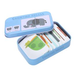 O bebê Caçoa Enfant Cognição Enigma Brinquedos Da Criança Cartões Caixa de Ferro Jogo de Harmonização Vehicl Cognitivo / Frutas / Animais / Vida Para Crianças de Fornecedores de jogos de cartas correspondentes
