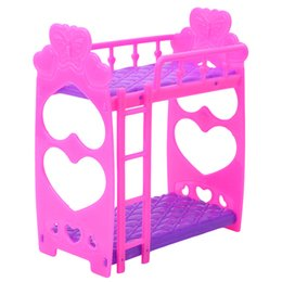 Wholesale Furniture Closets - 7Pcs Set Plastic Miniature Double Bed Toy Furniture For Dollhouse Mini Doll Dream Closet Playing House Toys Decoration Toys Gift