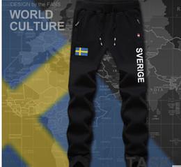 Wholesale Track Pants Wholesale - Wholesale- Sweden Sverige mens pants joggers jumpsuit sweatpants track cargo sweat fitness casual nation country flag 2017 men's Swedish SE