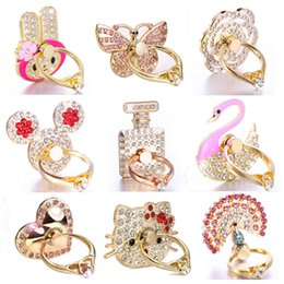 Wholesale bling stands - Ring Phone Holder Bling Diamond Unique Mix Style Cell Phone Holder Fashion For iPhone X 8 7 6s Samsung S8 cellphone stand iPad