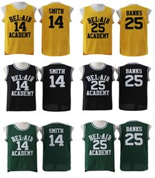 Wholesale L Bel - The Fresh Prince of Bel-Air Stitched #14 Will Smith Jersey Bel-Air Academy Basketball Jersey #25 Carlton Banks Jerseys Black Green Yellow