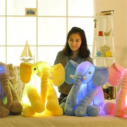 Wholesale Lead Elephant Toy - 1pc Led Infant Soft Appease be luminous Elephant Playmate Calm Doll Baby Toys Elephant Pillow Plush Toys free shipping WJ444