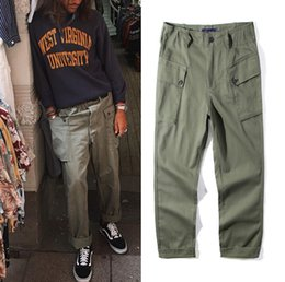 Wholesale Mens Cotton Overalls - Retro Army Tide Brand Straight Wide Leg Pants Multi-pocket Overalls Mens Quality Casual Long Trousers Green
