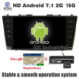 Wholesale car dvd tv gps camry - QZ industrial HD 9inch Android 7.1 T3 for Toyota Camry 40 Aurion 2006-2011 car dvd player with GPS WIFI 3G 4G Radio RDS navigation map