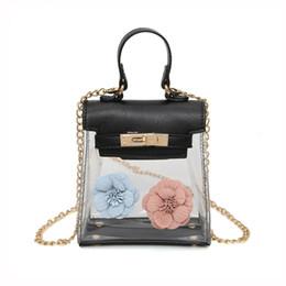 douce fleur de dame Promotion 2018 Nouvelles Femmes Mini Transparent Petit Sac De Mode Fleur Sacs À Main Sweet Lady Jelly Bandoulière Sac Chaîne Épaule Messenger Sacs