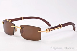 colore di occhiali da sole di legno Sconti Occhiali da sole da uomo classici in legno di corno di bufalo classico Francia occhiali da sole rettangolari senza montatura occhiali da sole lunettes de soleil con scatola originale 11 colori