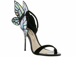 Zapatos de mariposa con alas online-Fashions Colorful Wings Thin Sandalias de tacón alto Mujeres Open Toe Pumps Sandalias de tacón de mariposa Sexy Wedding Party Shoes