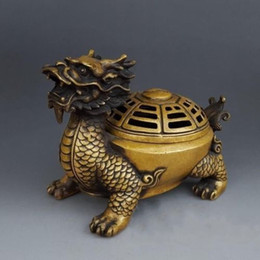 brûleur d'encens dragon en laiton Promotion FOLK CHINA FENGSHUI PURE BRASS DRAGON TORTUE HUIT DIAGRAMMES BRÛLEUR D'ENCENS