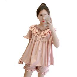 1fa375d529 Summer Cotton Pajamas Pyjama Set Women Short Sleeve Shirt+Shorts 2 Piece  Sleepwear Sexy Lingerie Suit Sweet Nightwear Negligee