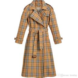 Двубортные рубашки онлайн-Женская ветровка плед двубортный пояс в длинном пальто тонкий британский стиль темперамент весна и осень рубашка