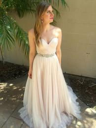 Discount wedding dress crystal sash blush - Simple Cheap Blush Summer Garden A Line Wedding Dresses Sweetheart Crystal Sash Zipper Beach Bridal Gown Pleat Zipper Tulle vestido de novia