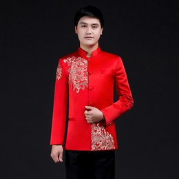 Costume de soie rouge en Ligne-tunique homme rouge chinois traditionnel des vêtements pour hommes vestes tang tang veste à manches longues manteau manteau vêtements costume kong-fu tang