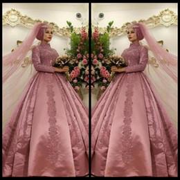 arabische brautkleider Rabatt Staub-Rosa-islamisches moslemisches arabisches Hochzeits-Kleid mit langen Hülsen-hohem Ansatz-Ballkleid Dubai Kaftan-Spitze-Brautkleid-Satin mit Appliques