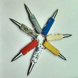 одиночные палочки Скидка Мини halotf мини тянуть цеп ножи одно действие брелок атласная складной фиксированным лезвием карманный нож Рождество подарок для человека C198 Tighe Stick