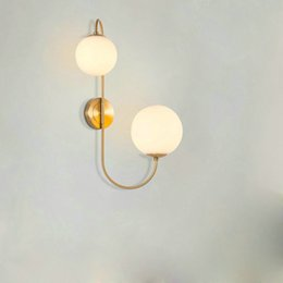 Wholesale Glass Wall Light Shades - Modern Gold Finished Wall Light Glass Ball Shade Wall Lamp bedside wall sconce Home Deco Lighting E27 AC 110V 220V