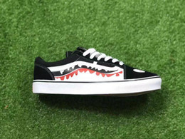 Wholesale Mens Hip Hop Shoes - 2017 X OLD SKOOL SHARK MOUTHS Sneakers Women And Mens Black White Convas Sports Casual shoes hip hop sports casual shoes