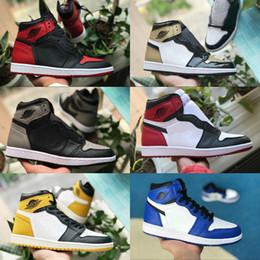 nike air jordan 1 shoes air max michael jordans retro Nouveau 1 Haute OG  Chaussures De Basket-ball Jeu Royal Banned Shadow Bred Toe Hommes Femmes 1s  Brisé ... cc21912a5