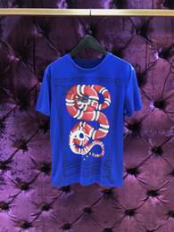 Wholesale Printed Numbers - 2018 leisure summer O-neck short sleeved cotton men's t shirt Blue number 25 snake printing men t shirt