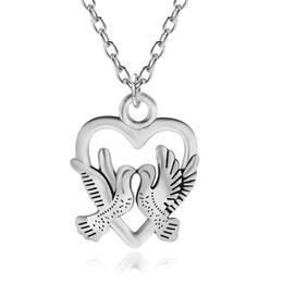Wholesale Wholesale Peace Jewelry - Vintage Punk Antique Silver Peace Dove Charms Pendants Hollow Heart Unisex Animal Bird Choker Necklace Women Men Jewelry Collier Wholesale