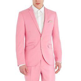 Тонкий костюм подходит розовый онлайн-Mens Pink Two Button 2 Piece Suit Mens Slim Fit Wedding Prom Groom Tuxedos Evening Jacket Pants Casual Notch Lapel Blazer