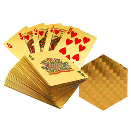 Wholesale Golden Play Cards - 2 Decks of Gorgeous Golden Playing Cards Geometric Pattern Waterproof Full Poker Table Games