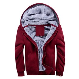 parkas for winter Coupons - Fleece Warm Men Jacket For Autumn Winter Male Casual College Teen Solid Parka Windbreaker Red Gray Outerwear Cotton Stretch Coat
