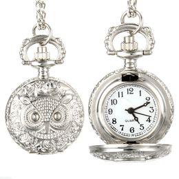 Wholesale Vintage Owl Clocks - Fashion Men Women Vintage Quartz Pocket Watch Unisex Sweater Chain Watches Necklace Owl Pendant Clock Gifts@88