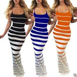 Wholesale Ladies Striped Maxi Dress - Summer women dress Stripe sexy sling long skirt Print Halter Sleeveless Dress Multicolor Black Blue Orange White Casual ladies wear