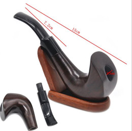 Wholesale Pipe Polish - Novel Curved Surface Polished Ebony Pipe New Ruili Style Cigarette Pot Removable Curved Wooden Smoking Set