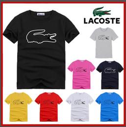 Camisas de homens mangas de couro on-line-S-6XL novo polo de couro de crocodilo em torno do pescoço de manga curta homens 1015 # dos homens t-shirt de manga curta de algodão polo camisa de roupas masculinas quentes