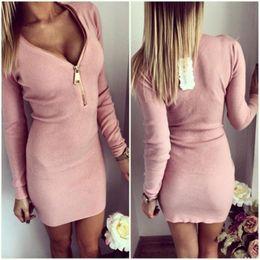 vestidos de color rosa lápiz señoras Rebajas Vestido atractivo del club de las mujeres en primavera Vestidos del tamaño extra grande Cremallera del cuello en v de la manga larga Algodón Ropa gris sólida del lápiz del color de rosa para las señoras