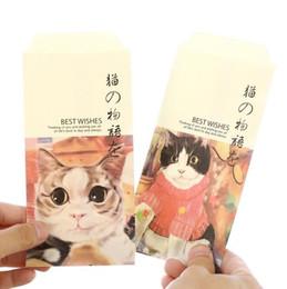 10 paquetes / lote Vintage Kawaii Cat Pet Envelope set sobre rojo 'mini bolso de regalo divertido de la escuela de oficina suministros de papelería desde fabricantes