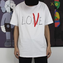 Wholesale hand painted love - 18ss VLONE Life Lone Love T-Shirt Hand Painted Fashion Tee Men Women Loose Casual T-shirt Streetwear Hip-hop Crew Neck Summer Tee HFLSTX214