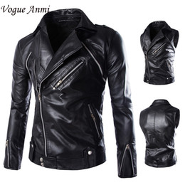 Wholesale Jaqueta Couro Masculino - Wholesale- Vogue Anmi.Men'S Jacket Motorcycle Jaqueta Male De Couro Masculino Men Leather Jacket Veste Cuir Homme Coat Sleeves Detachable